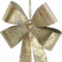 Anelli in metallo, ciondolo natalizio, decorazione dell'Avvento dorata, aspetto antico H18cm L12.5cm 2 pezzi