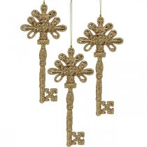 Chiave per decorazioni, decorazioni natalizie con glitter, decorazioni per alberi di Natale dorate H15,5 cm 12 pezzi