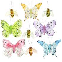 Farfalla, decorazione ape su clip 4 cm - 8 cm 9 pezzi