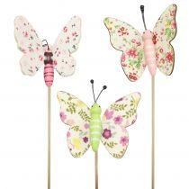 Farfalla su bastone di legno 5,5 cm - 7 cm 18 pezzi