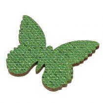 Decorazione da controllare Butterfly Green-Glitter 5/4 / 3cm 24pcs