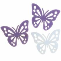 Decorazione da tavolo farfalla in feltro viola bianco assortito 3,5x4,5 cm 54 pezzi