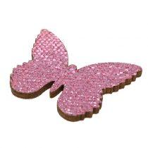 Decorazione da controllare Butterfly Pink-Glitter 5/4 / 3cm 24pcs