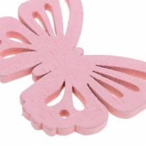 Farfalla sparsa bianca, gialla, rosa assortita in legno 5cm 40p