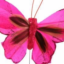 Farfalla piuma con filo 7cm rosa lilla 24 pezzi