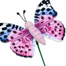 Farfalla decorativa su bastone, tappo per fiori, decorazione primaverile, 16 pezzi