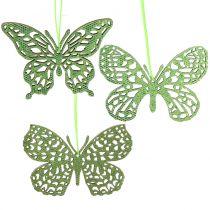 Decorazione da appendere Butterfly Green Glitter8cm 12pcs