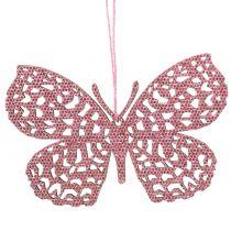 Decorazione da appendere Schmetterling Pink Glitter10cm 6pcs