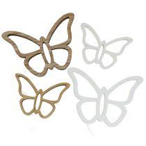 Farfalla in legno bianco / naturale 3 cm - 4,5 cm 48 p