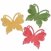 Scatter decorazione farfalla legno arancio, giallo, verde 4cm 72p