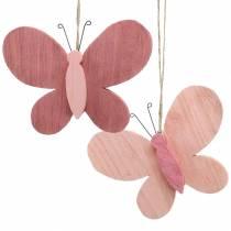 Farfalla per appendere in legno rosa 13 cm x 22 cm 2 pezzi