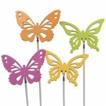 Borchie fiore farfalla legno 7x5,5cm 12 pezzi assortiti