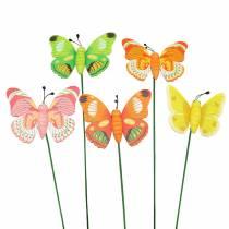 Spilla fiore farfalla in legno assortita 7,5 cm 16 pezzi