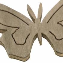 Molla in legno di farfalla bianca, crema, marrone assortita 4 cm 72 pezzi decorazione della tavola