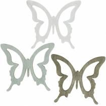 Farfalla da cospargere 4cm marrone, grigio chiaro, bianco Decorazione in legno con spolverata estiva 72 pezzi