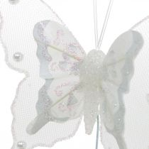 Farfalle con perle e mica, addobbi nuziali, farfalle in piuma su filo bianco