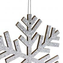 Fiocchi di neve da sospendere Colore argento Ø8cm - Ø12cm 9 pezzi