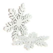 Fiocchi di neve in legno bianco Ø3,7cm 48 pezzi