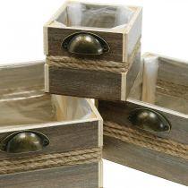 Fioriera, cassetto in legno, fioriera 26/20/14 cm, set di 3