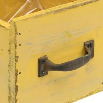 Cassettiera decorativa vintage in legno giallo 12,5 × 12,5 × 11 cm