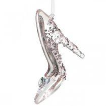 Scarpa decorativa scintillante, decorazioni per l'albero, scarpa da favola, plastica rosa H10cm