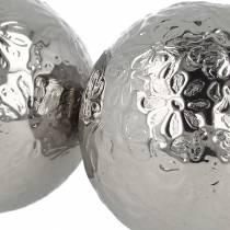 Sfera galleggiante fiori in metallo argentato Ø5,5cm assortiti 6 pezzi