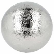 Palla galleggiante fiori in metallo argentato Ø10cm