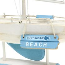 Barca a vela decò in legno blu, bianco H41,5cm