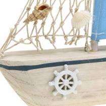 Barca a vela decorativa legno blu bianco naturale 20x4cm H30cm