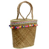 Shopping bag natura con pompon 40 cm x 32,5 cm