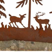 Sagoma della foresta con animali in acciaio inossidabile su una base di legno 30 cm x 19 cm