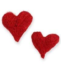 Cuori di sisal 5-6 cm rosso 24 pezzi