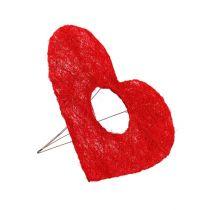 Polsino cuore in sisal rosso 15 cm 10 pezzi.