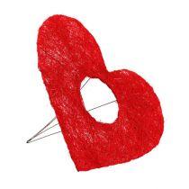 Polsino cuore in sisal 20cm decorazione floreale in sisal cuore rosso 10 pezzi