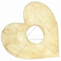 Cuore in sisal sbiancato 25,5 cm 10 pezzi