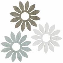Fiori estivi decorazione in legno fiori marrone, grigio chiaro, bianco streudeko 72 pezzi