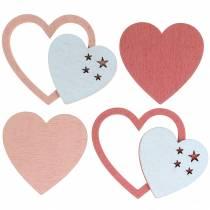 Decorazione da controllare cuore rosa / bianco 24p