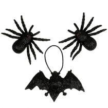 Spider, figure di pipistrelli nere 10 cm, 14 cm 3 pezzi