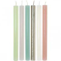 Candele coniche colorate in diversi colori 21 × 240 mm 12 pezzi