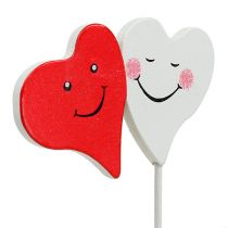 Doppio cuore rosso, bianco 8 cm x 5 cm 12 pezzi