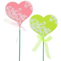 Plug cuore rosa, verde 8,5 cm x 7,5 cm 12 pezzi