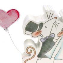 Coppia di mouse Figura da decorare con cuori 11 cm x 11 cm 4 pezzi