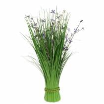 Bouquet decorativo in piedi con fiori di prato lilla artificiale 51cm