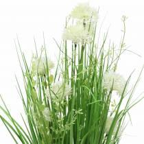Mazzo di fiori in piedi decorativo con fiori di prato verde, bianco artificiale 51 cm