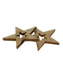 Wood Star Gold Decorazione da controllare 4cm 48 pezzi