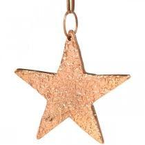 Stella in rame da appendere, decorazione albero di Natale, ciondoli in metallo 8×9cm 2pz