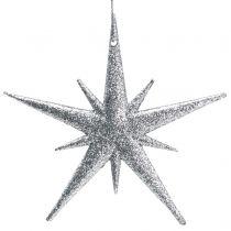 Addobbi natalizie Stella scintillante da sospendere Colore argento 13 cm 12 pezzi