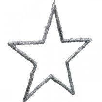 Stella da appendere, addobbi albero di Natale, decorazione stella argento 11,5×12cm 12pz