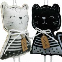 Gatti in tessuto da appendere, decorazioni primaverili, appendiabiti per gatti, decorazioni regalo 4 pezzi