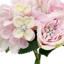 Bouquet rosa con perle 29cm
